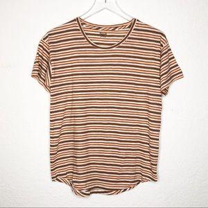 Madewell | Orange Striped Short Sleeve Tee Sz S
